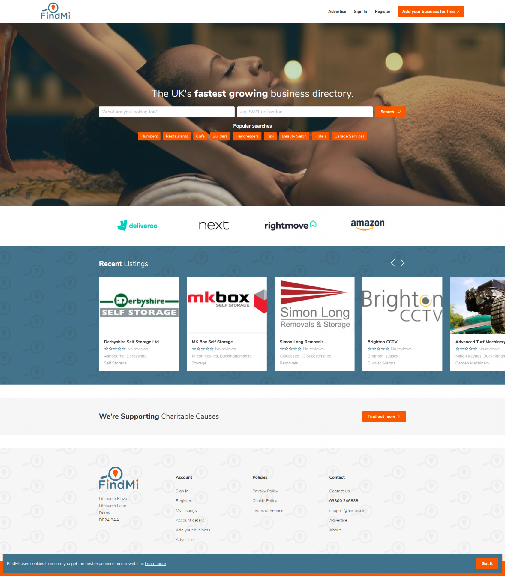 Scrolling screen capture of the Findmi Website