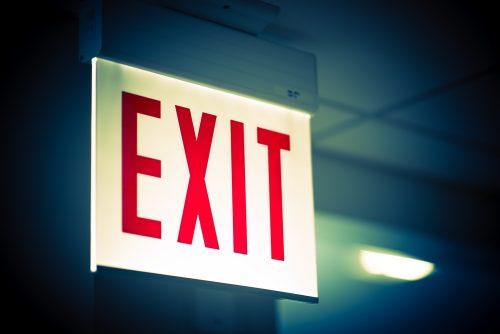 Illuminated,Corporate,Office,Exit,Sign,Closeup.