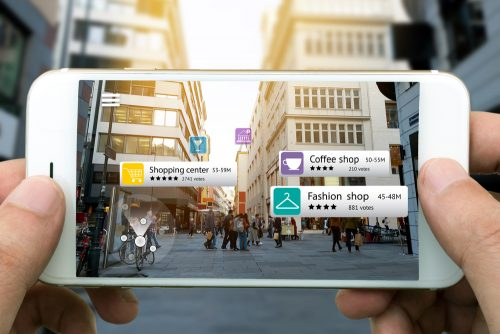 Augmented,Reality,Marketing,Concept.,Hand,Holding,Smart,Phone,Use,Ar