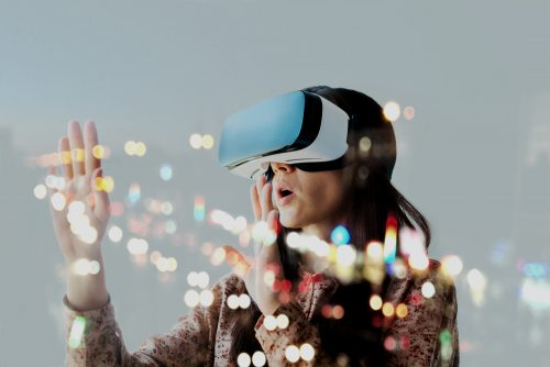 woman wearing virtual reality headset for social media